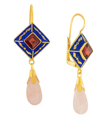 Kublai Khan Garnet and Quartz Renaissance Earrings
