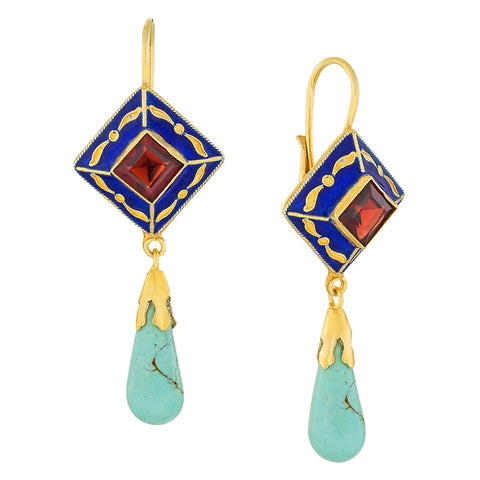 Kublai Khan Turquoise and Garnet Renaissance Earrings