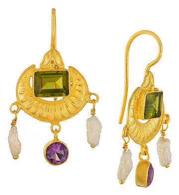 Crescent Peridot, Amethyst and Pearl Earrings