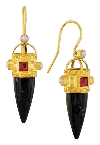 Czarina Onyx, Garnet and Pearl Earrings