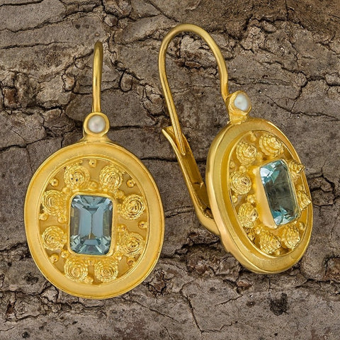 Dhaka Blue Topaz and Pearl Earrings