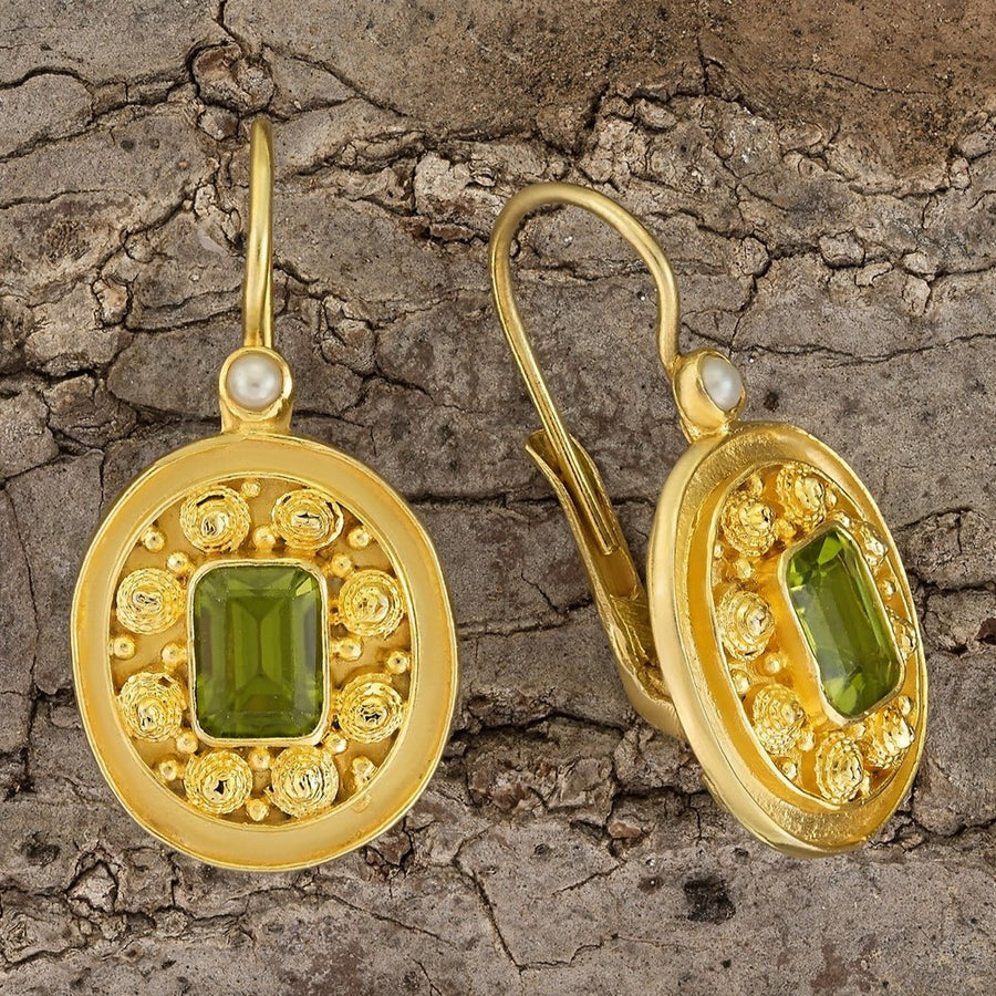Dhaka Peridot and Pearl Earrings