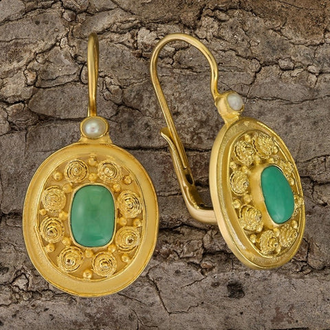 Dhaka Turquoise and Pearl Earrings