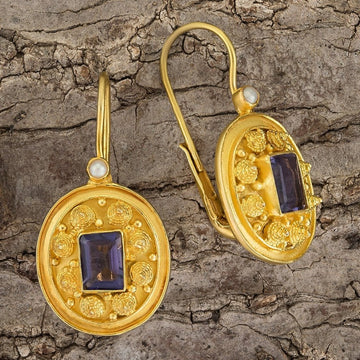 Dhaka Iolite and Pearl Earrings