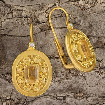 Dhaka Citrine and Pearl Earrings