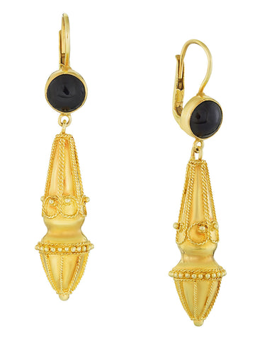Augustan Onyx Victorian Earrings