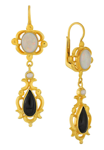 Bloomsbury Opal, Onyx and Pearl Earrings
