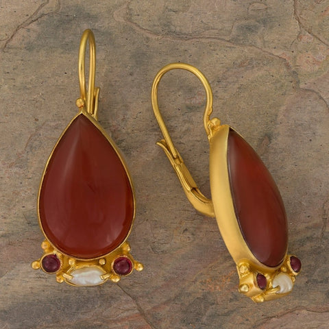 Queen Of Hearts Carnelian Earrings