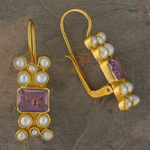 Troy Amethyst and Pearl Earrings