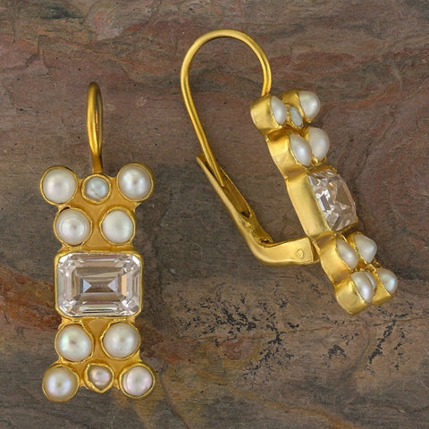 Troy Cubic Zirconia and Pearl Earrings