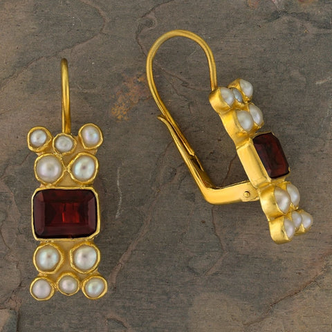 Troy Garnet and Pearl Earrings