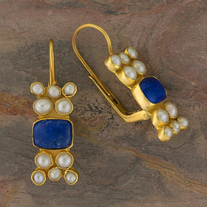 Troy Lapis and Pearl Earrings