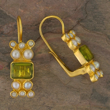 Troy Peridot and Pearl Earrings