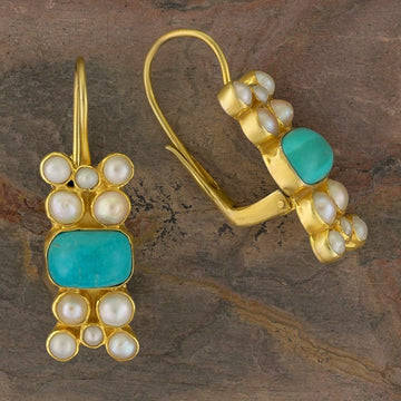 Troy Turquoise and Pearl Earrings