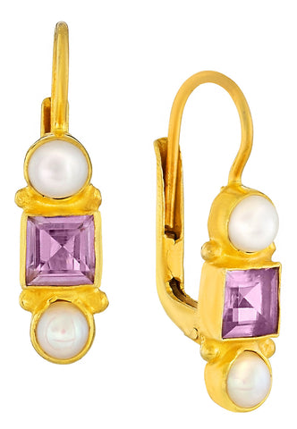 Thoroughly Modern Millie Amethyst and Pearl Earrings