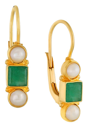 Thoroughly Modern Millie Emerald and Pearl Earrings