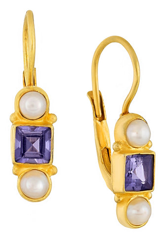 Thoroughly Modern Millie Iolite and Pearl Earrings