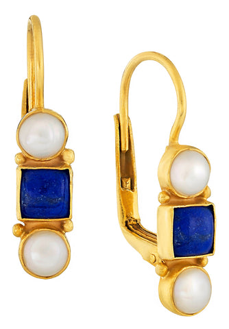 Thoroughly Modern Millie Lapis and Pearl Earrings
