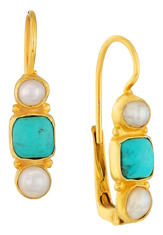 Thoroughly Modern Millie Turquoise and Pearl Earrings