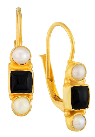 Thoroughly Modern Millie Onyx and Pearl Earrings