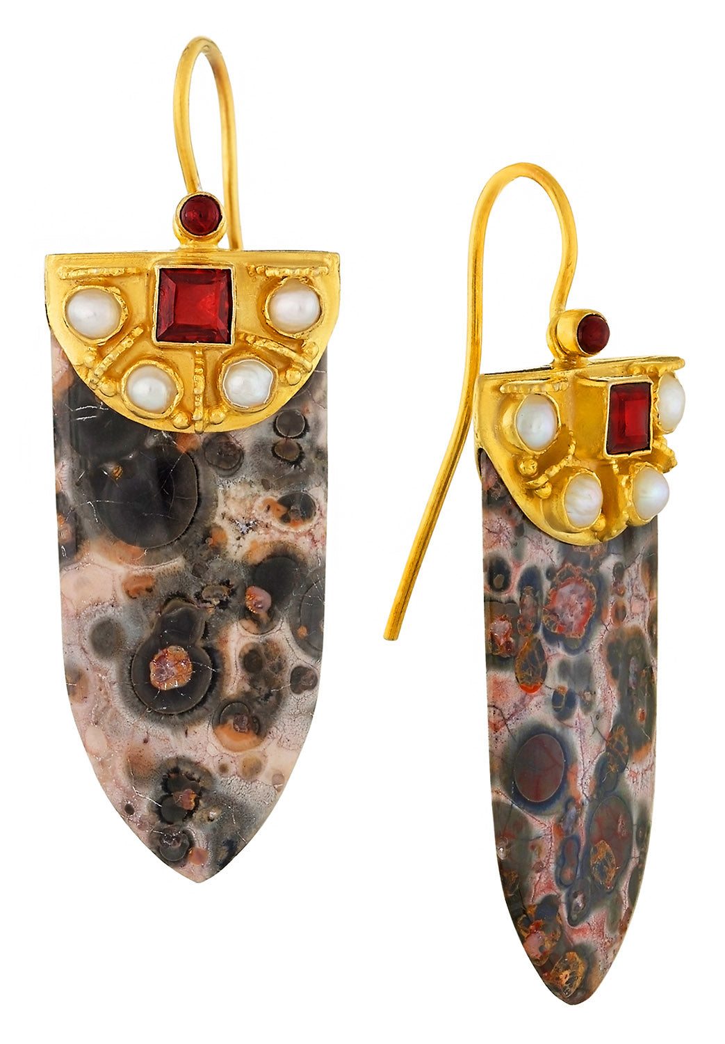 Leopardskin Jasper Shield Earrings