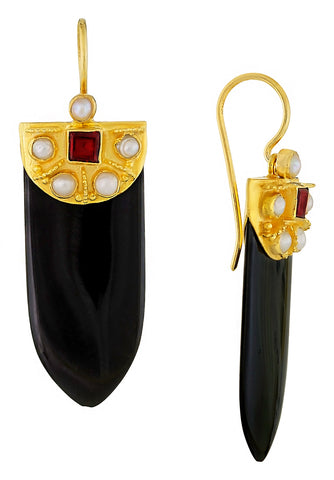 Onyx Shield Earrings
