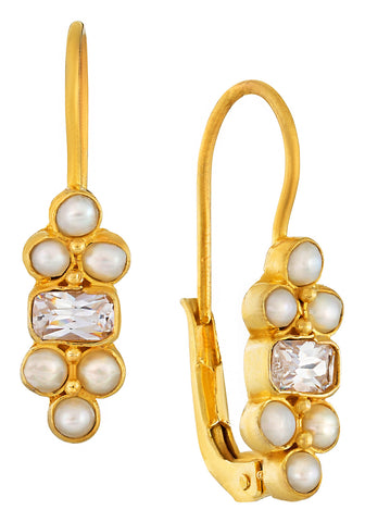 Royal Pavilion Cubic Zirconia and Pearl Earrings