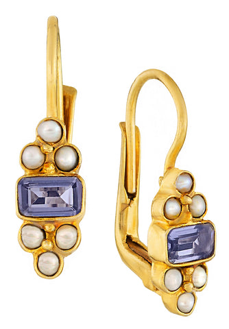 Royal Pavilion Iolite and Pearl Earrings