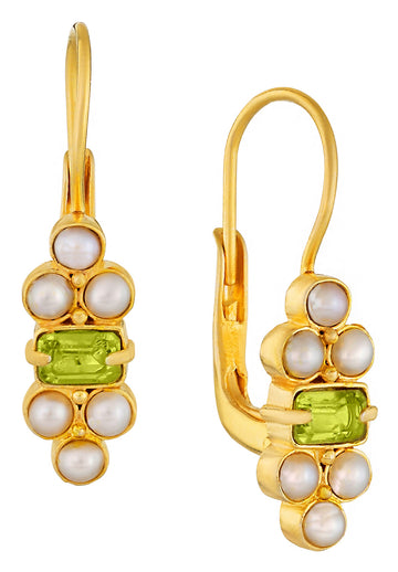 Royal Pavilion Peridot and Pearl Earrings