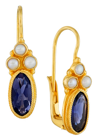 Windsor Iolite and Pearl Earrings