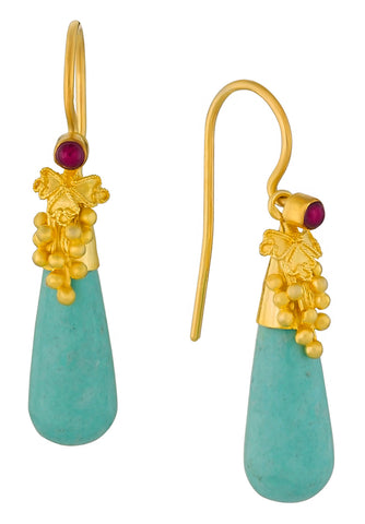 Corinthian Turquoise and Garnet Earrings
