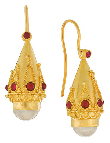 Princess Sophia Moonstone and Garnet Earrings