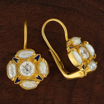 Tudor Cubic Zirconia and Pearl Earrings