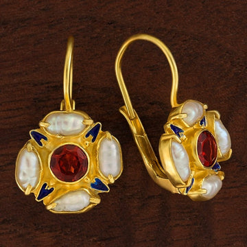 Tudor Garnet and Pearl Earrings