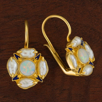 Tudor Opal and Pearl Earrings