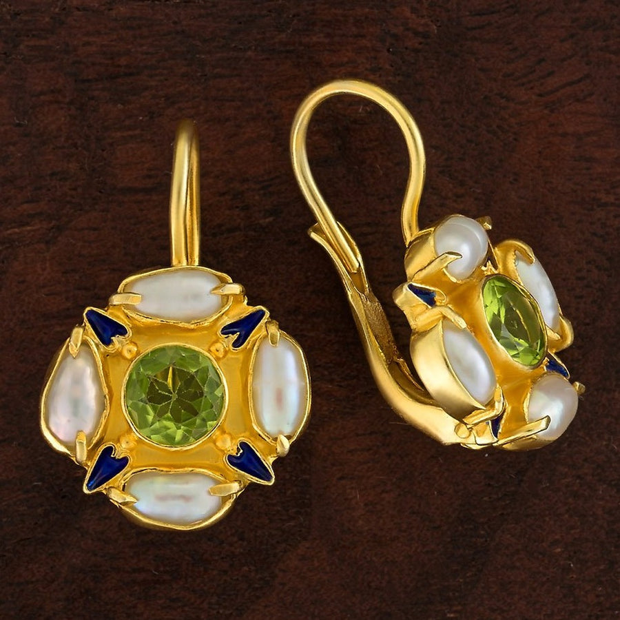 Tudor Peridot and Pearl Earrings