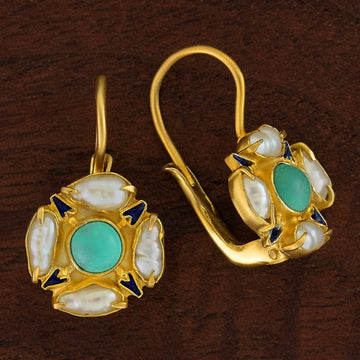 Tudor Turquoise and Pearl Earrings