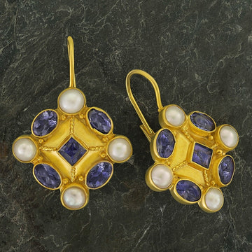Magellan Iolite and Pearl Earrings