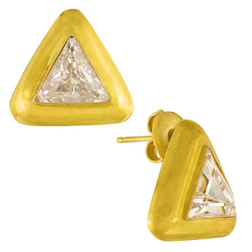 Tetrahedron Cubic Zirconia Earrings