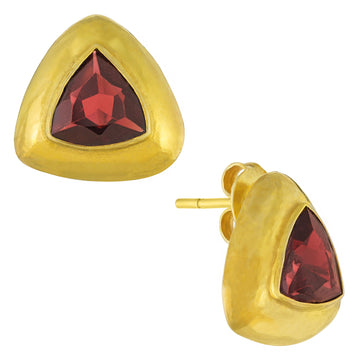Tetrahedron Garnet Earrings