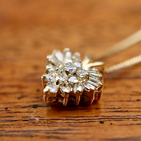 14k Cinderella Diamond Necklace