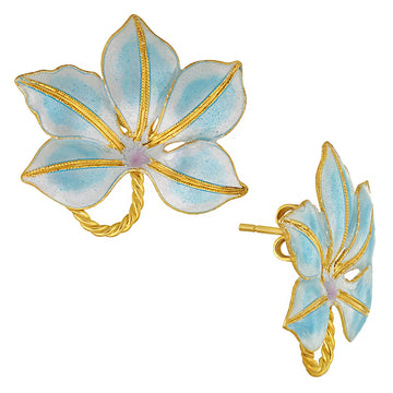 Vintage Laurel Inc Sky Blue Buckeye Gold-Vermeil Earrings