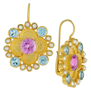Duchess Of Alba Amethyst, Blue Topaz and Pearl Earrings