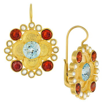 Duchess Of Alba Blue Topaz, Garnet and Pearl Earrings