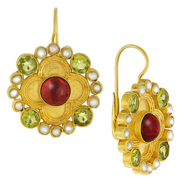 Duchess Of Alba Garnet, Peridot and Pearl Earrings