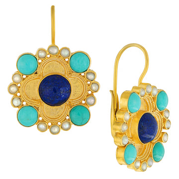 Duchess Of Alba Lapis, Turquoise and Pearl Earrings