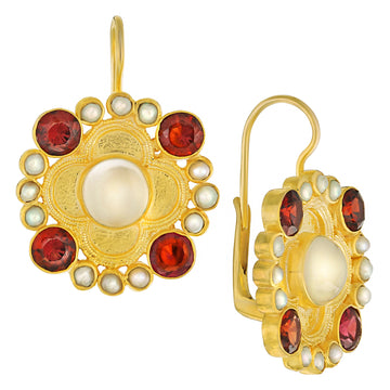 Duchess Of Alba Moonstone, Garnet and Pearl Earrings