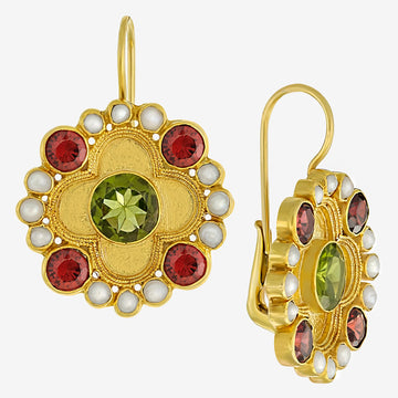 Duchess Of Alba Peridot, Garnet and Pearl Earrings