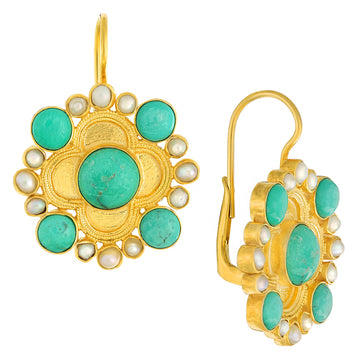 Duchess Of Alba Turquoise and Pearl Earrings
