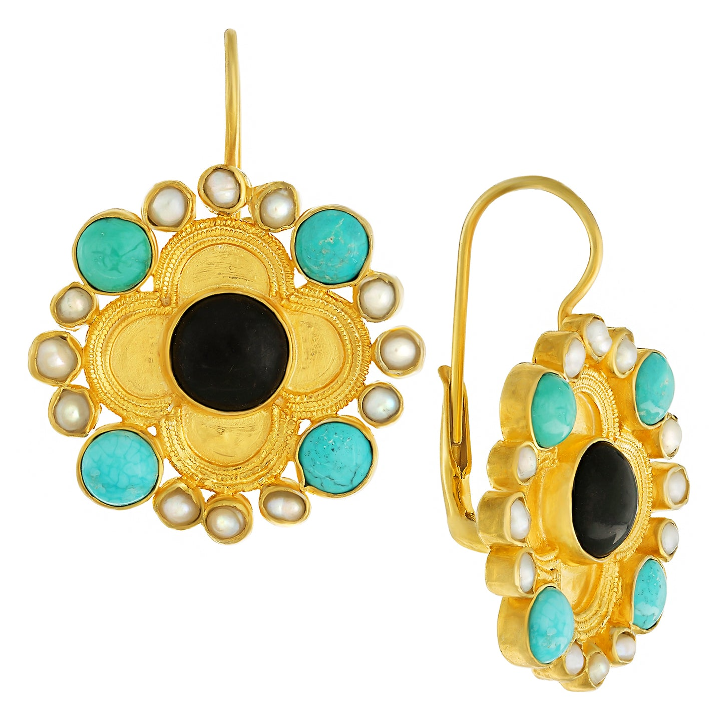 Duchess Of Alba Onyx, Turquoise and Pearl Earrings